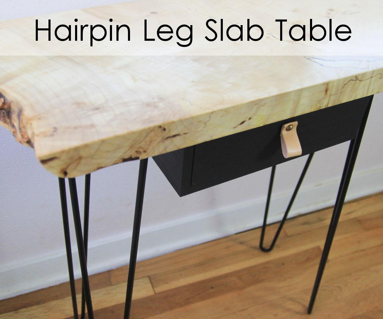 Hairpin Leg Slab Table W/ Drop Drawer