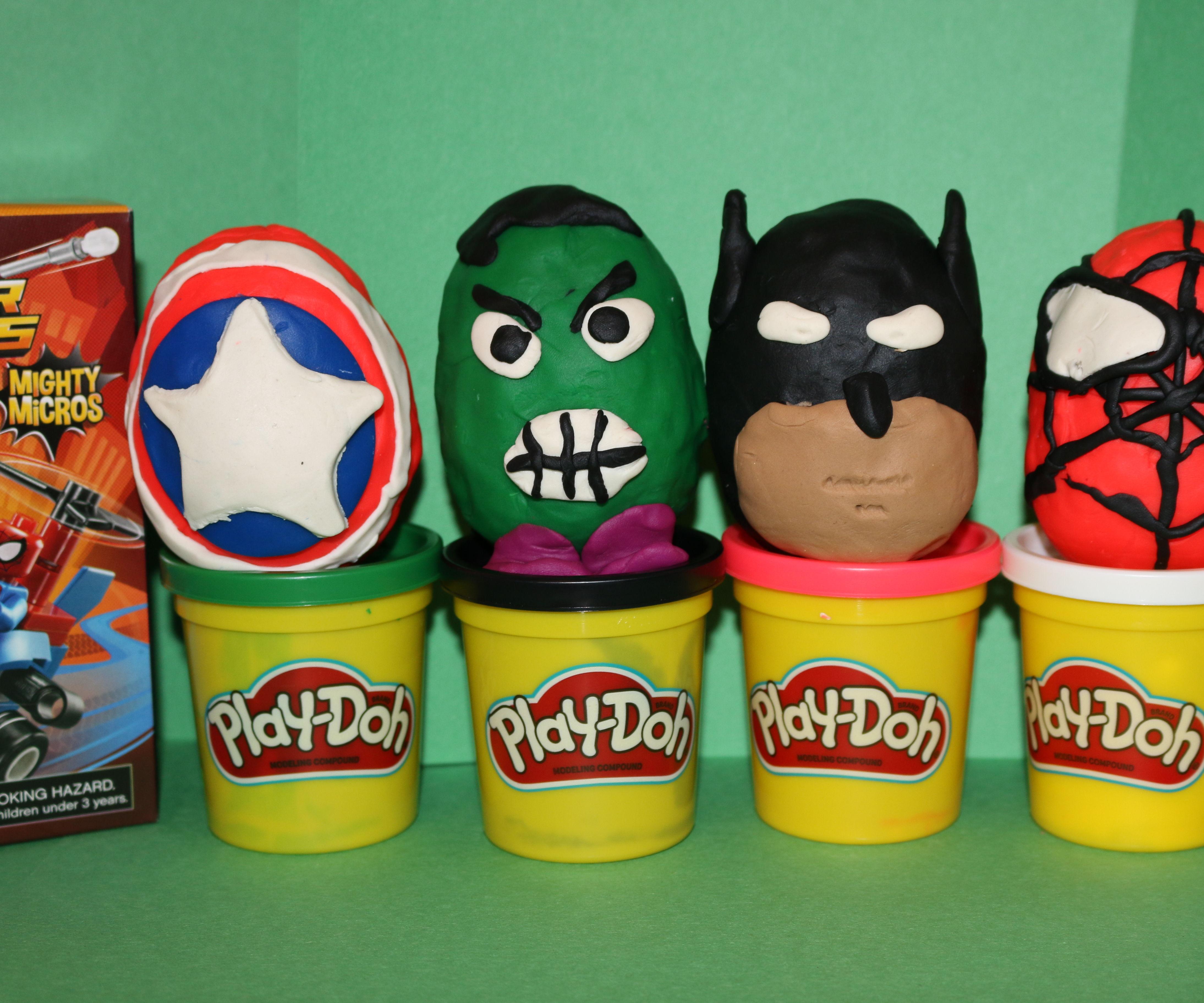 PlayDoh Egg Toy Surprise Spiderman, Hulk, Batman, Captain America
