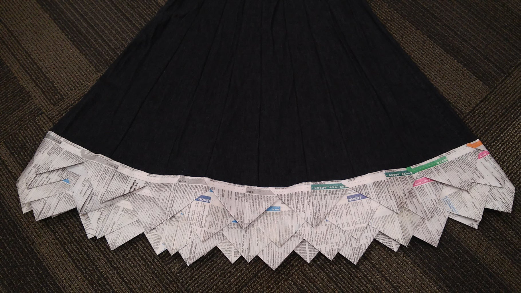 Sewing Paper Onto Skirt