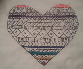 Tribal Print Inspired Embroidered Heart