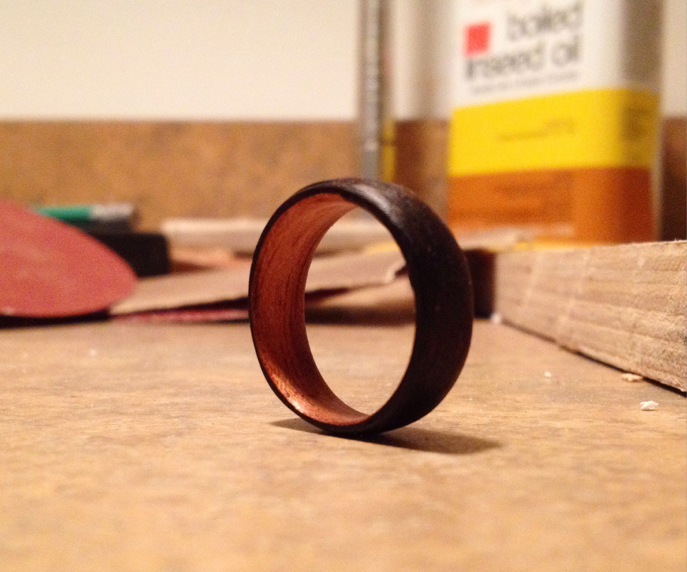 Bentwood ring - two toned -natural color