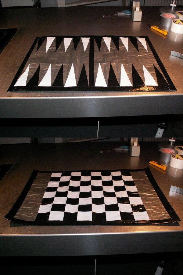 Duct Tape Game Board (Chess, Draughts and Backgammon)