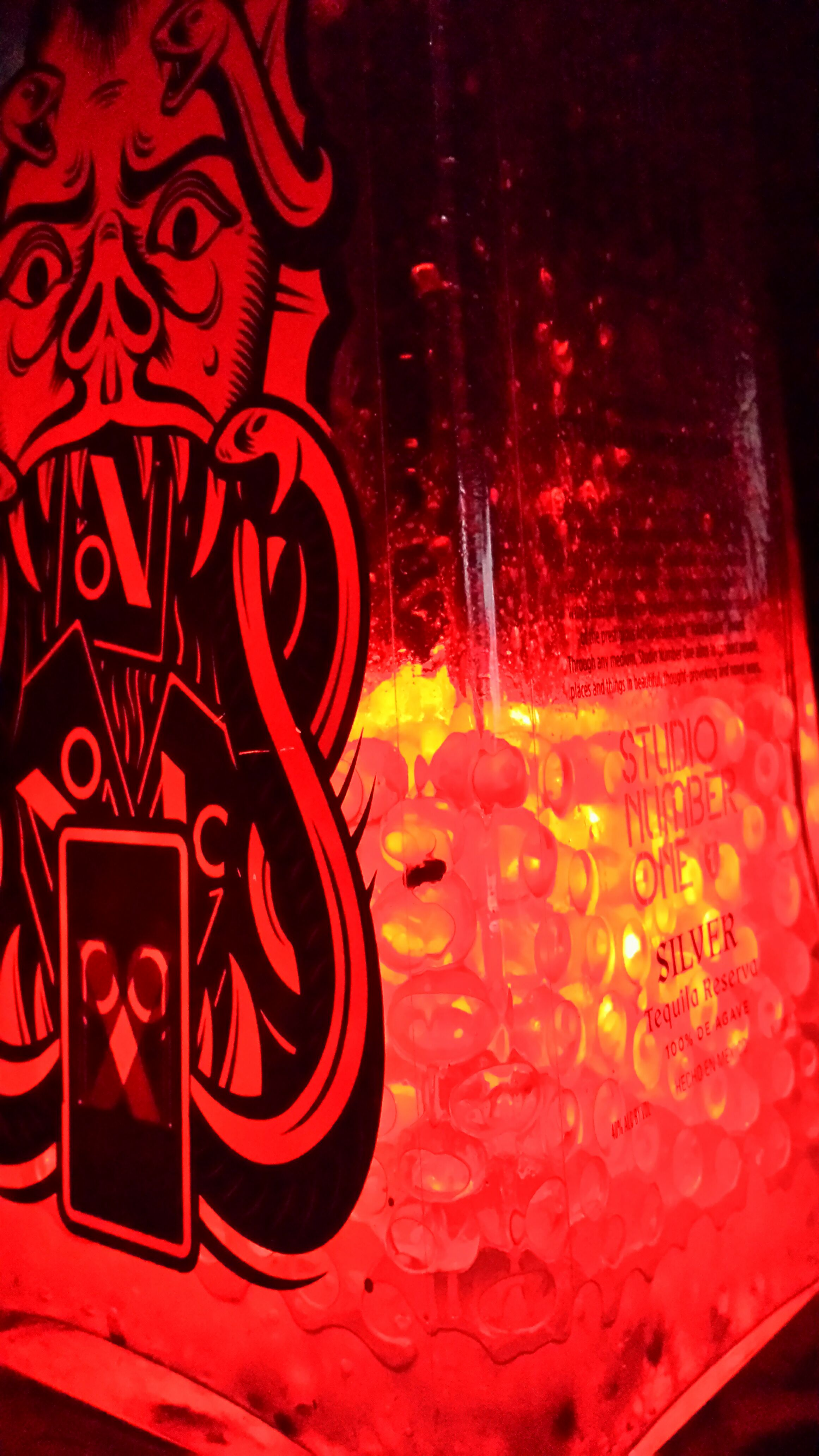 Quick and easy, temporary,  liquor bottle accent lighting
