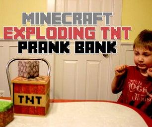 Minecraft Exploding TNT Prank Bank (Wood Printer Image Transfer)