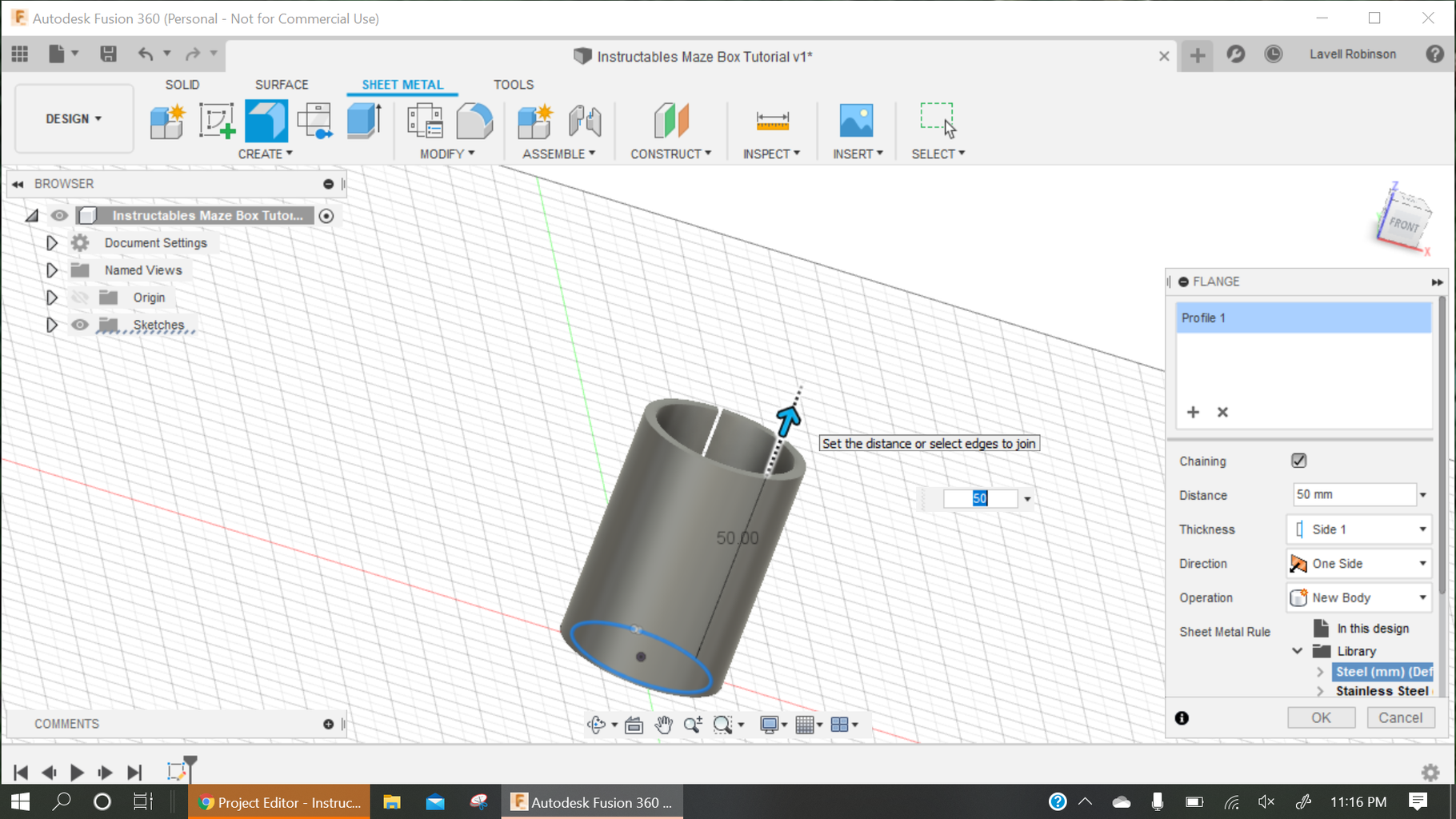 Create Flange From Arc.