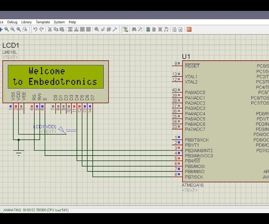 Atmega16 Interfacing With LCD in 4 Bit Mode (Proteus Simulation)