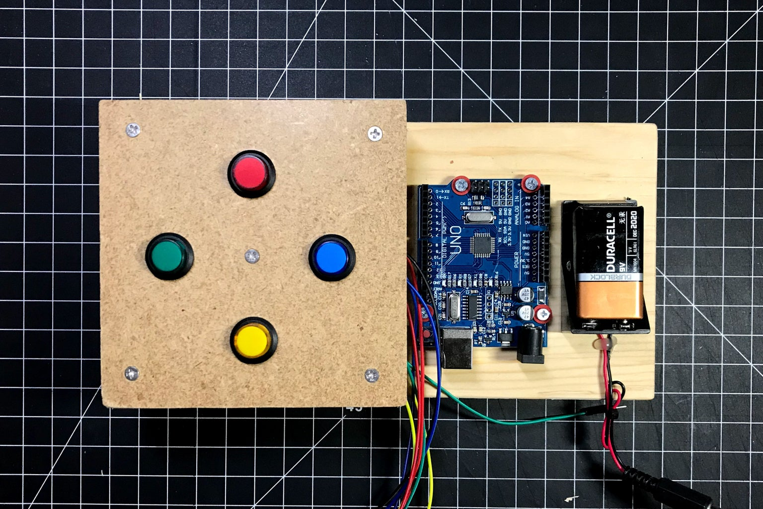 Attach Arduino and Battery Holder to the Base Board