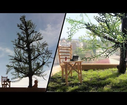 How to Make|DIY PineTree | Landscape Tree Diorama|5 Minutes Craft|Landscape Dog|Table|Chair Diorama