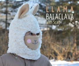 Warm Llama Balaclava With Scarf