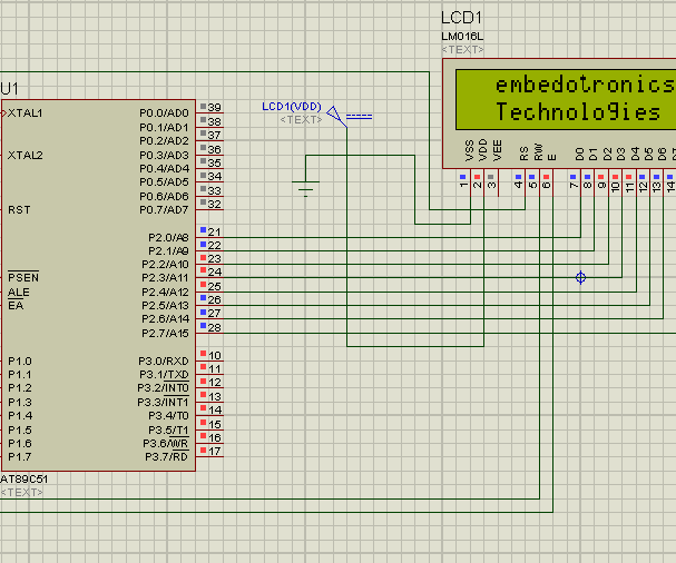 Interfacing 8051 Microcntroller With 16*2 Lcd in Proteus Simulation