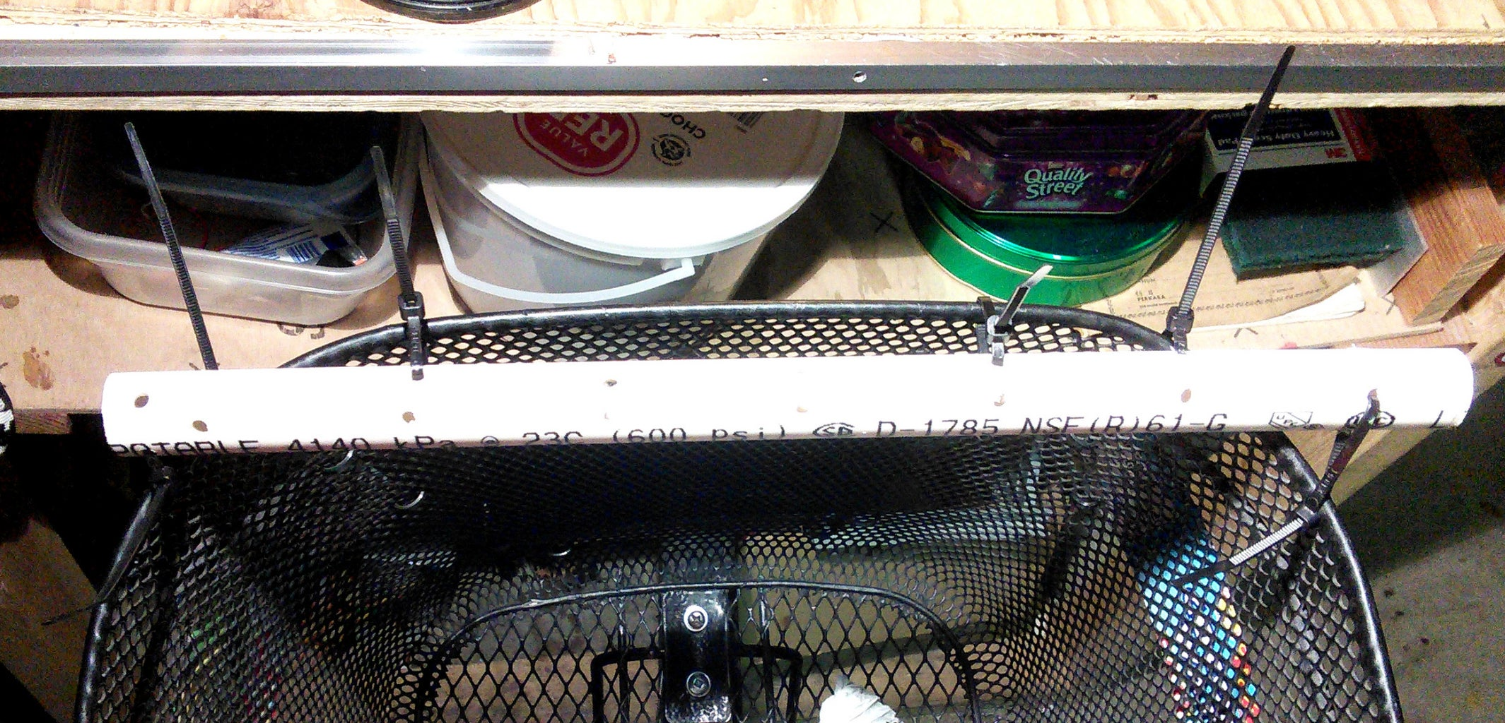 Cable Tie Pipe to Basket