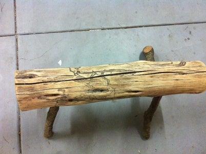 Natural Wood Log Bench