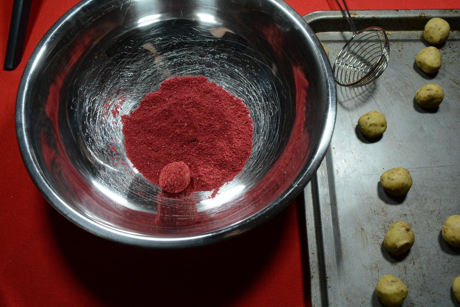 Roll Truffles in Raspberry Powder