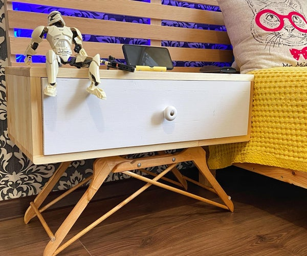 How to Make a Nightstand From Wooden Hangers || DIY Side Table