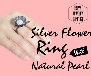 DIY Tutorial - How to Make a Silver Flower Ring With Natural Pearls☺☺