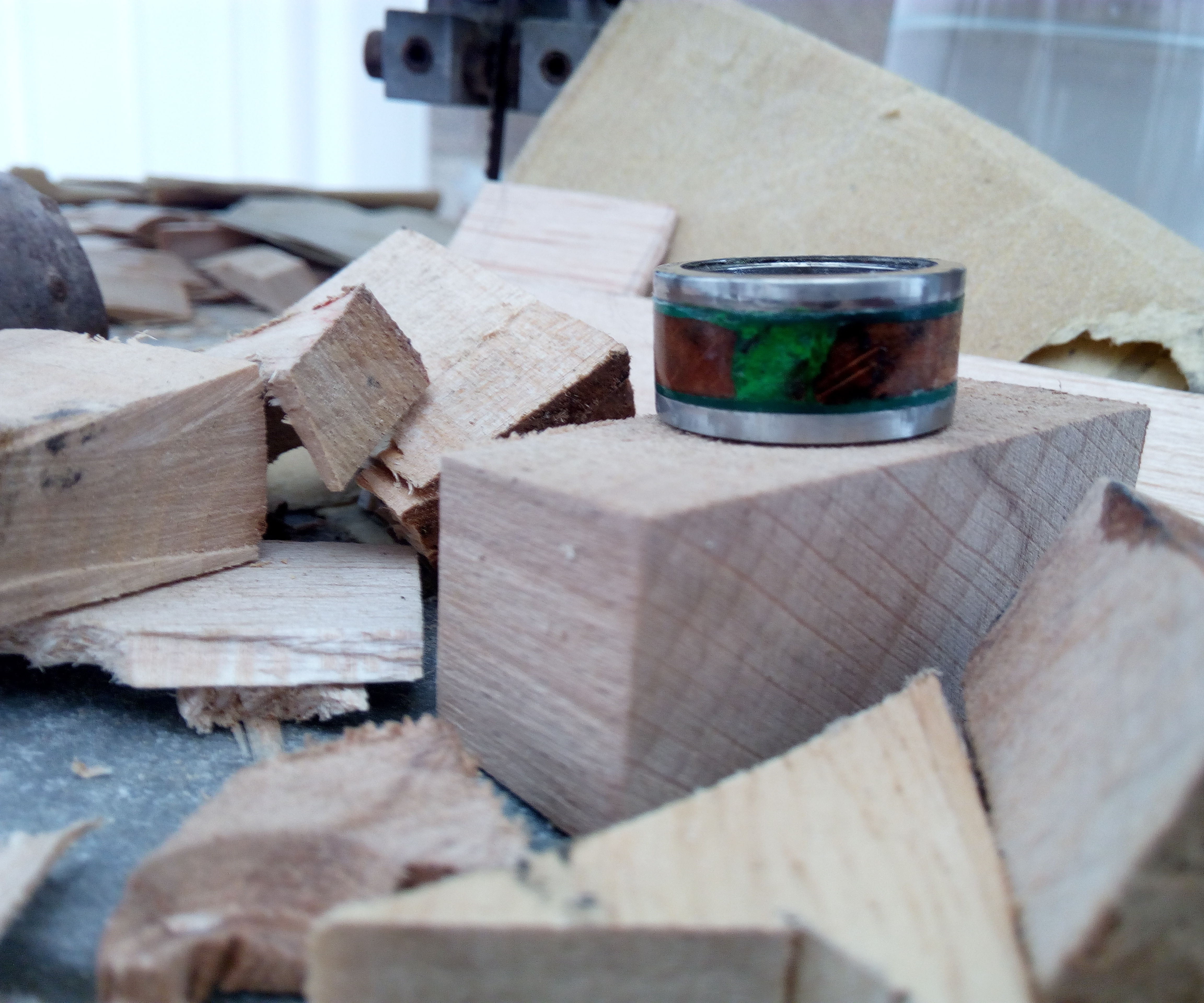 Wood Inlaid Escape Ring