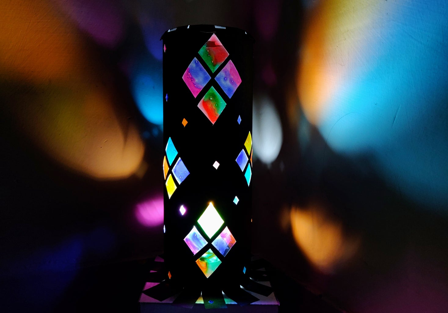 DIY Rainbow Paper Lampshade