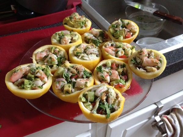Shellfish Ceviche in Lemon Cups