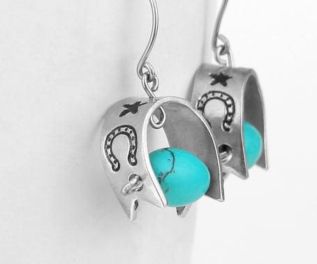 Metal Stamped Horseshoe Earrings
