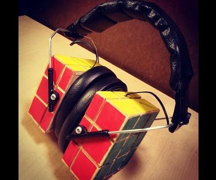 Wooden Rubik's Cube Bluetooth Headphones