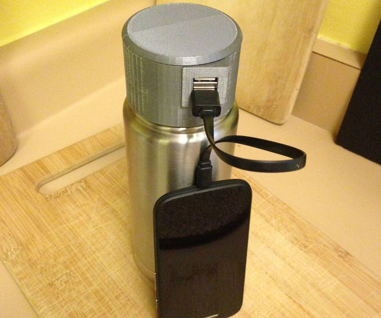 3D printed phone charging lid for Klean Kanteen