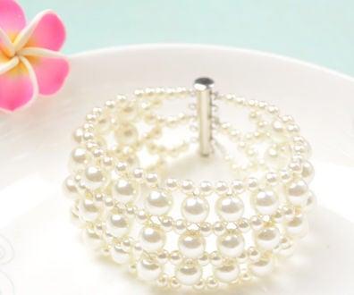 How to Make White Wedding Pearl Bracelet for Bride