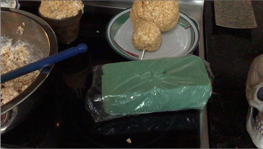 Use a Second Stick to Prop the Shapes on a Foam Block (Wrap the Block in Plastic Wrap)