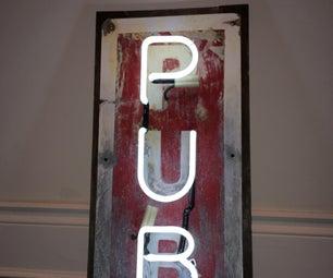 Faux Aged Neon Pub Sign
