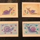 Mixed Media Watercolor/Prismacolor Snails