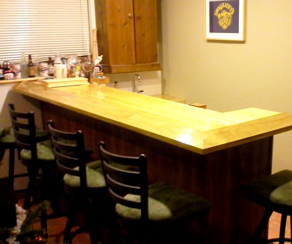 Home Bar With Reclaimed Bowling Alley Bar Top