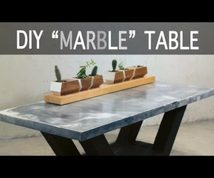 """Make a """"Marble"""" Table From Concrete W/ Torched Wood Base"""