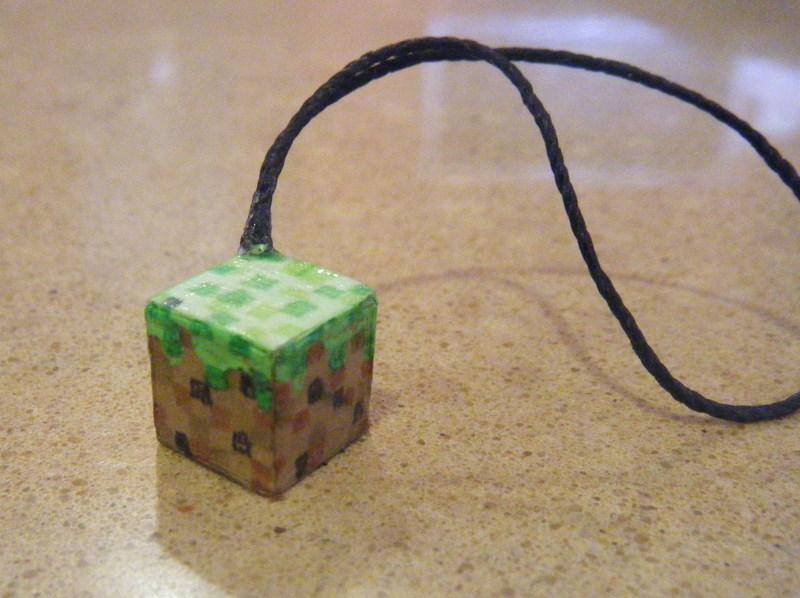 Minecraft grass phone charm