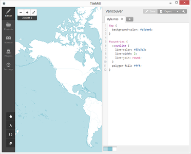 By Default Tilemill Will Give You a Blank Map With a Rough Coastal Outline of the World.
