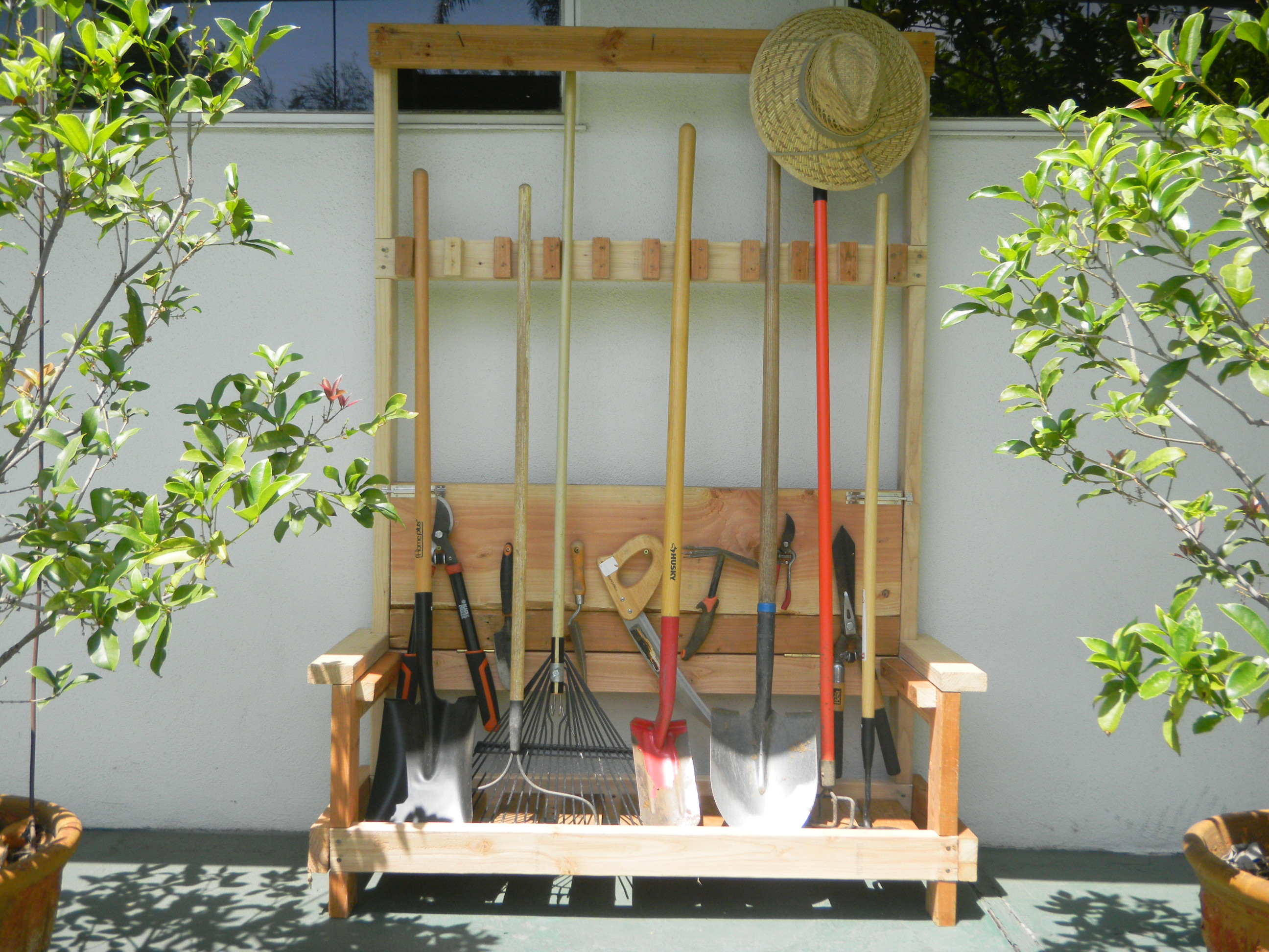 Garden Tool Rack with foldable bench
