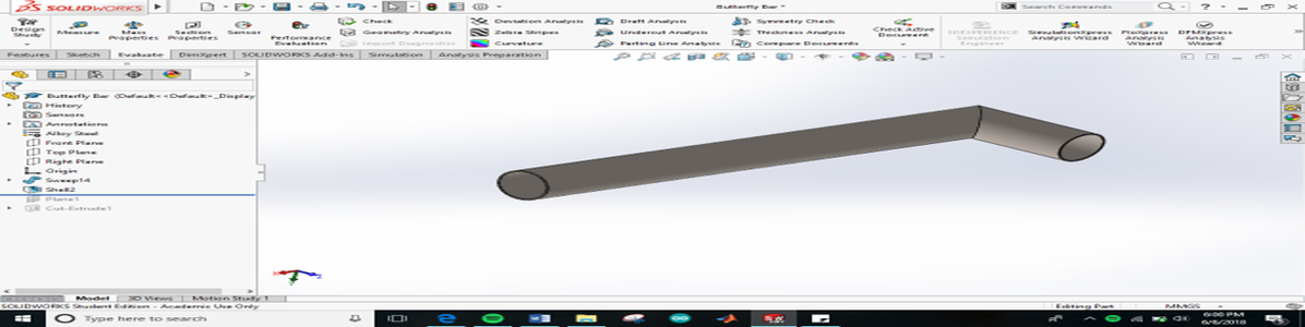 Designing the Butterfly Bar and Support System in Solidworks