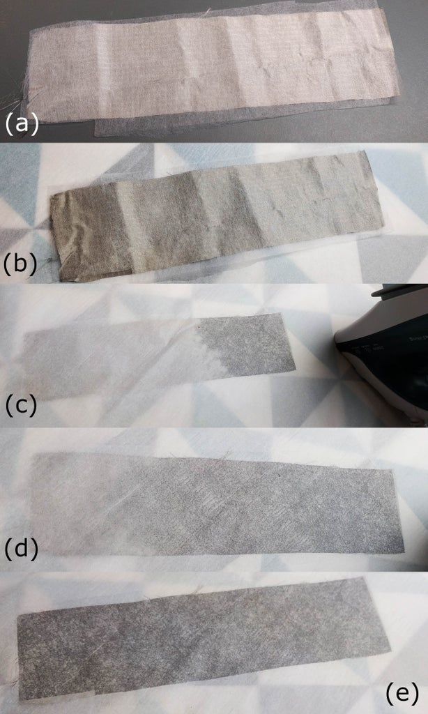 Add the Bonding Material to the Conductive and Non-conductive Fabrics