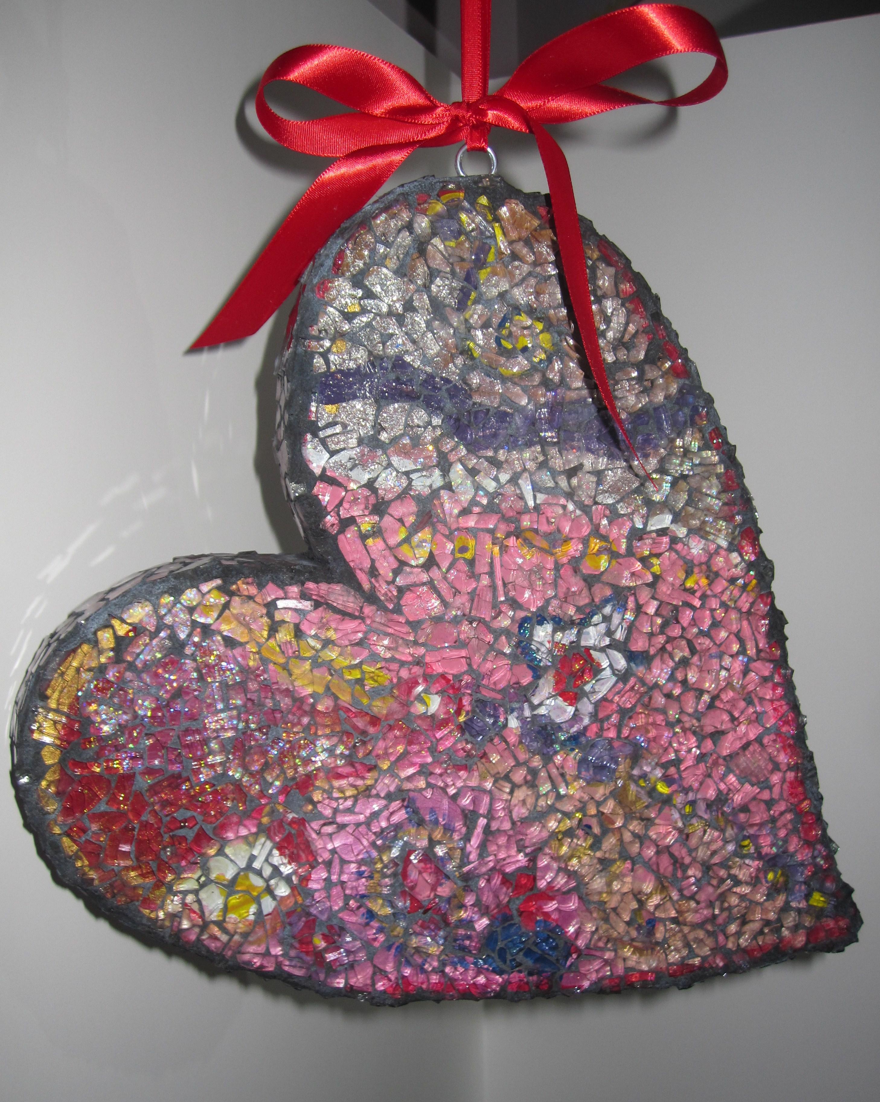SAFETY GLASS MOSAIC:  Valentine Heart