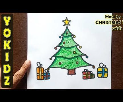 HOW TO DRAW CHRISTMAS TREE WITH PRESENTS