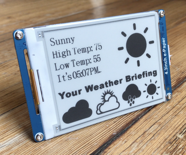 E-Paper Weather Display With Photon and IFTTT
