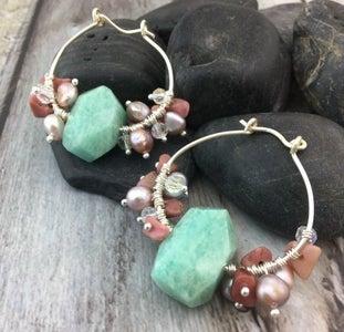 Gemstone-Dangle Wired Hoop Earrings
