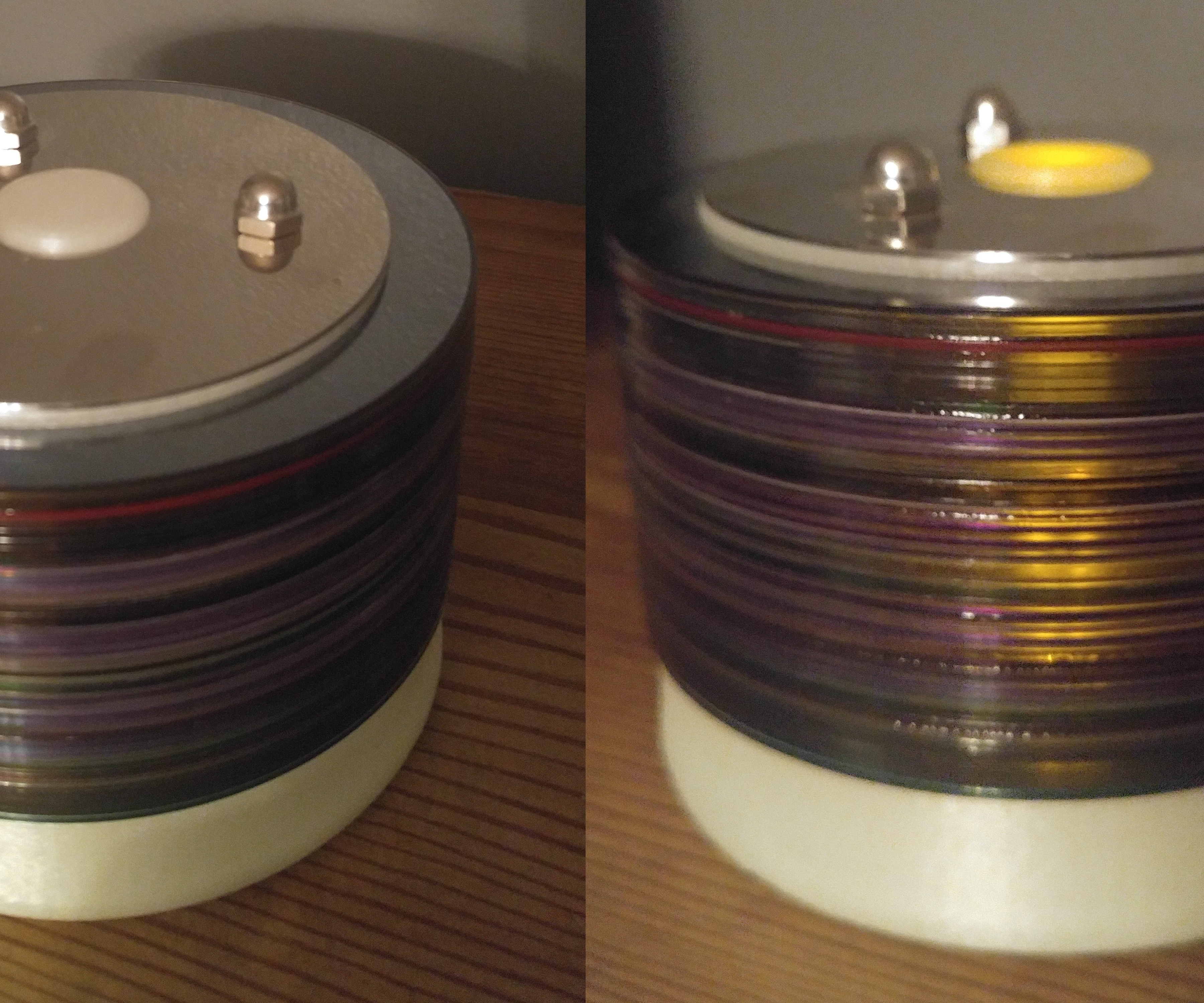 Touh activated recycled glow in the dark CD Lamp