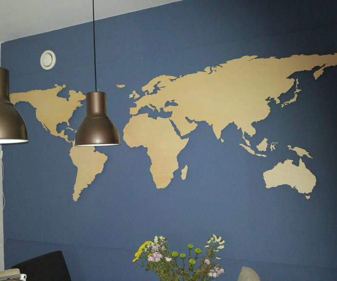 Wooden Wall Mounted World Map