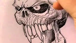 How To Draw A Vampire Skull In Detail