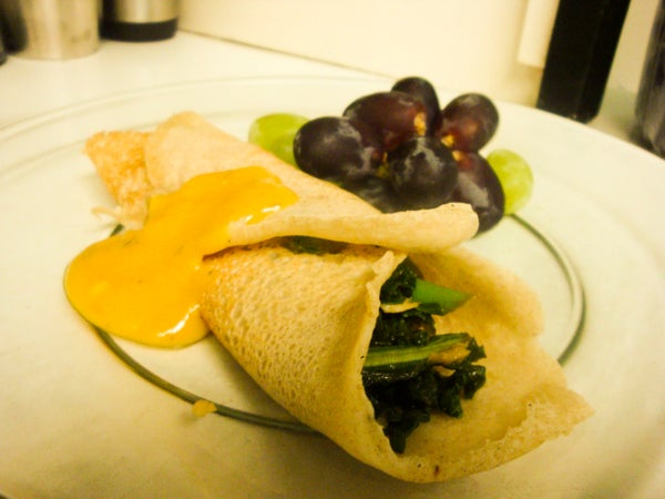 Vegan Crepes With Smokey Tempeh and Sauteed Greens