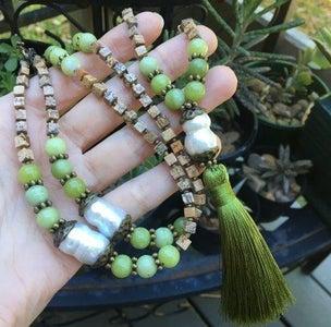 Olive Green Jasper & Freshwater Pearl Mala Necklace