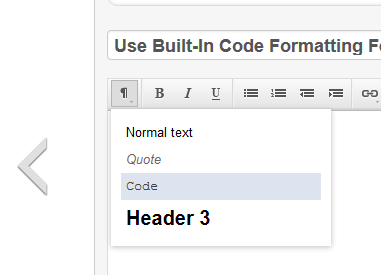 Use Built-In Code Formatting Feature