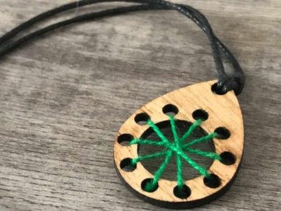 Wood & Thread Pendant Necklace
