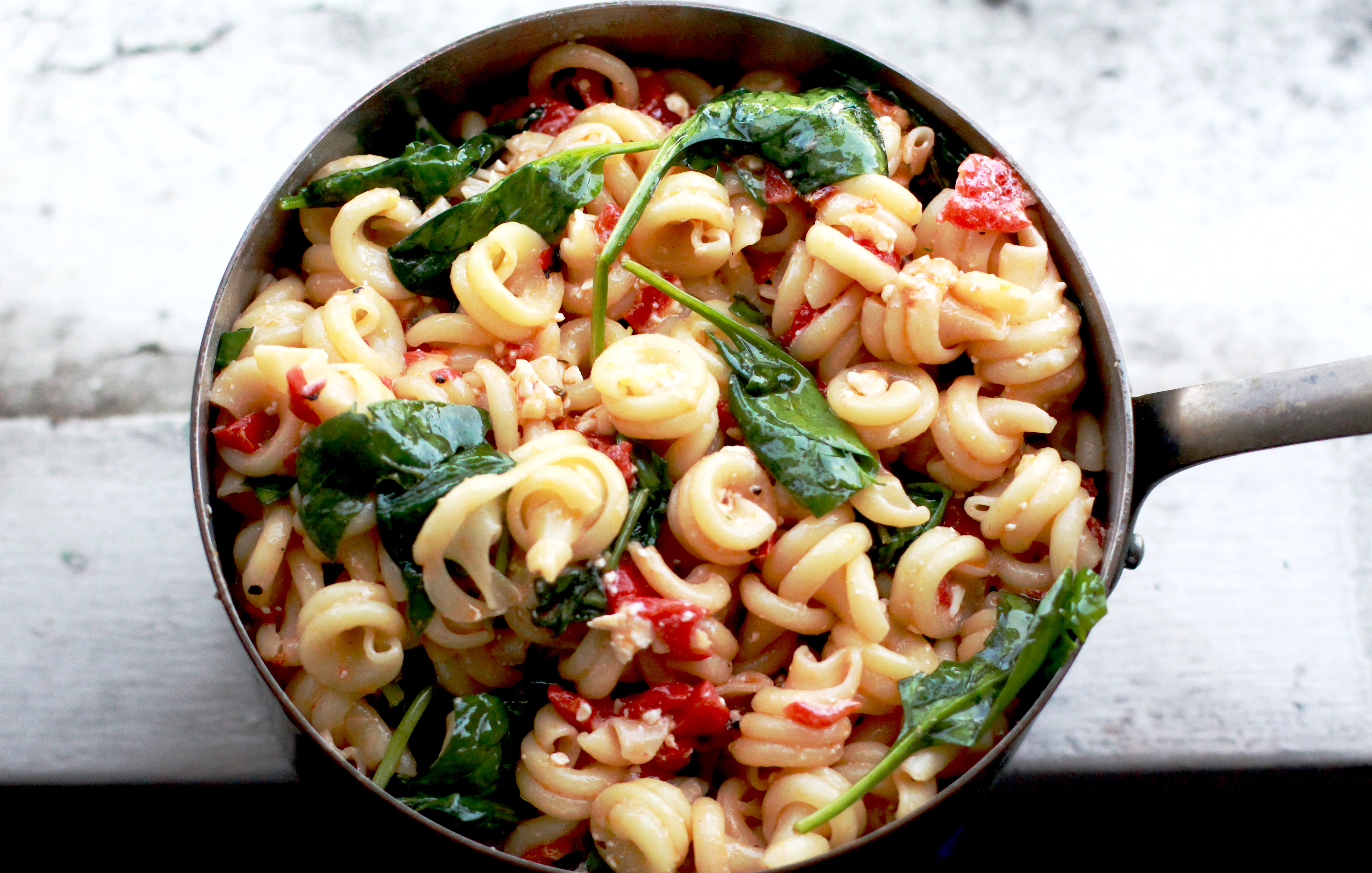 Pasta with Roasted Red Pepper, Spinach, Feta, and Sun Dried Tomatoes