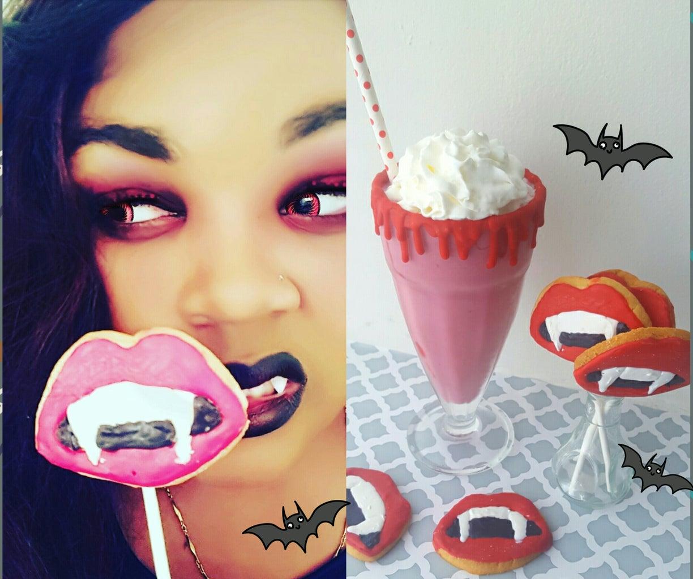 Vampire Cookie Pops & Bloody Milkshake