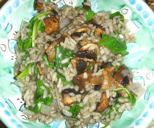 Vegan Baby Bella and Spinach Risotto